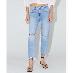 Zara Slim boyfriend jeans in Beach blue